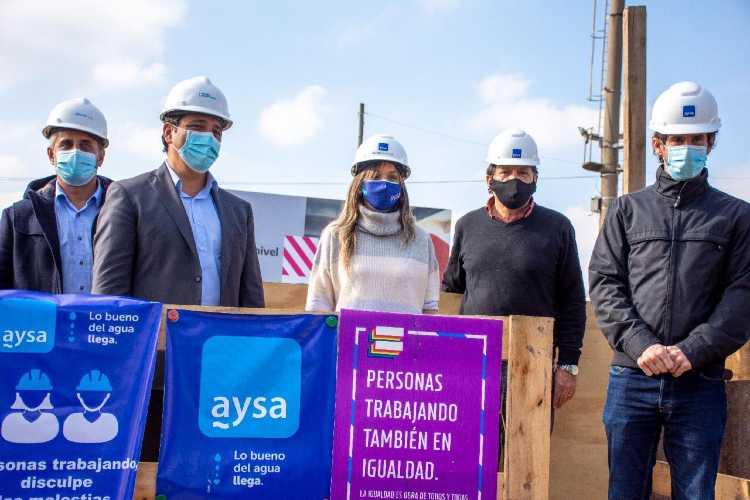 Malena Galmarini, Juan Andreotti y Martín Marinucci recorrieron obras que AySA y Trenes llevan adelante en San Fernando