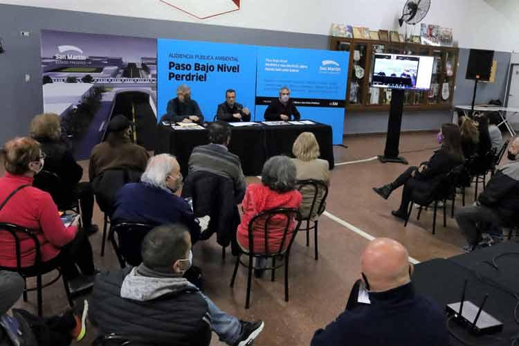 San Martín realizó la Audiencia Pública por el Paso Bajo Nivel de Perdriel